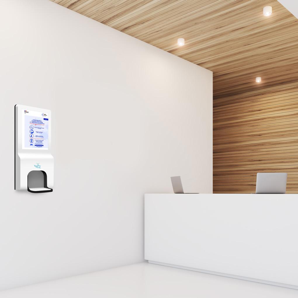 affichage-dynamique-borne-digitale-distributeur-gel-hydroalcoolique